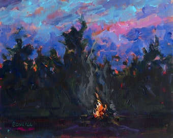 Guiding Lights, Campfire, Moon, Michigan Art, sunset painting, camping, big pines