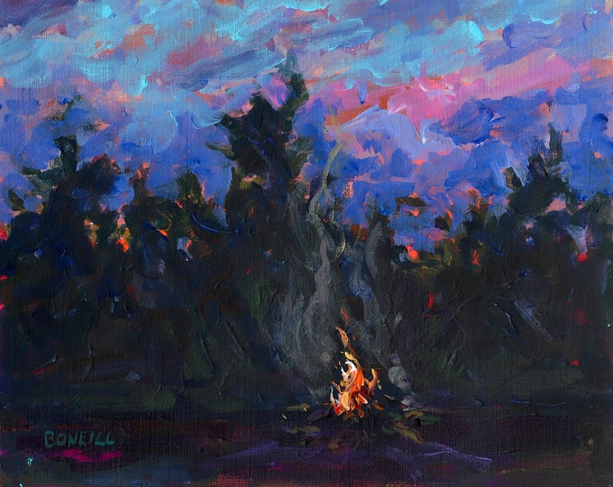 Featured listing image: Guiding Lights, Campfire, Moon, Michigan Art, sunset painting, camping, big pines