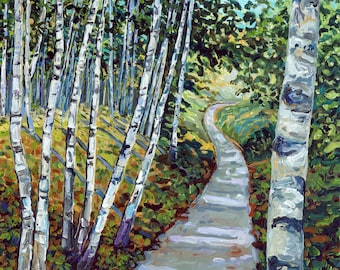 Birch Trail, Pyramid Point Path, Birch Trees, Michigan Forest, Fine Art Print, Giclee, Canvas Print
