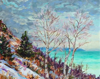 "Original Painting: ""Winter on the Bluff"" Empire Bluff, Michigan Art, Snow Painting, Solstice, Sleeping Bear, Betsy ONeill"