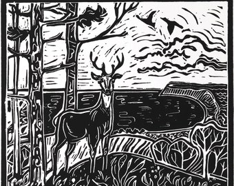 Up North - Lino Cut - Giclee Fine Art Print
