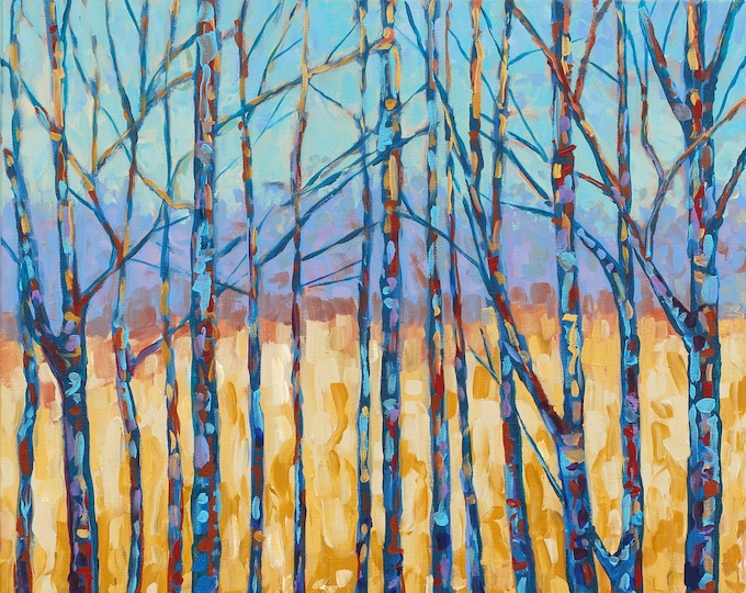 Featured listing image: Traverse City Field and Forest, Tree Study, Branches, Golden Field, Gold and Blue, Fine Art Print, Giclee, Canvas Print