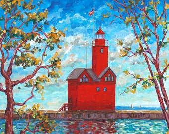 Big Red, Holland Michigan, Holland State Park, Ottawa Beach, Lighthouse, Beach, Water, Sand, Dunes, Fine Art Print, Giclee, Canvas Print