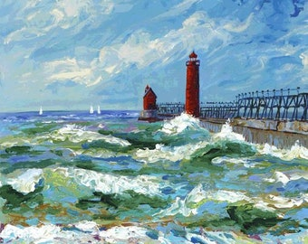 Grand Haven Michigan, Lake Michigan, Pier, Lighthouse, Beach, Sailboats, Nautical