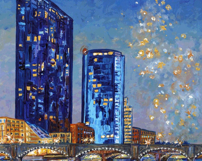 Featured listing image: Celebrate Grand Rapids, Starry Night, Grand River, Downtown Lights, Grand Rapids Bridge