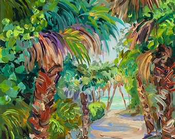 Beach Path, Island Art, North Captiva, Beach Trail, Sanibel, Florida, Cottage Decor, Palm tree painting, Fine Art Giclee