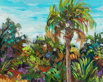 Palm Shadow, North Captiva, Nature Preserve, Beach Trail,  Sanibel, Florida, Cottage Decor, Palm tree painting, Fine Art Giclee