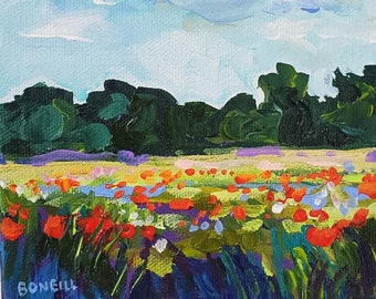 The Way You Love Me- 6x6 stretched canvas, Original Painting, Poppy Field, Sunset, Poppy Painting, Michigan Art, Betsy ONeill, Valentines