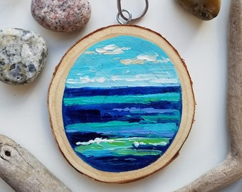 Mini Lake and Sky Ornament, Christmas, Great Lakes, Mini Painting, Abstract, Michigan, Travel, Hand Painted Ornament