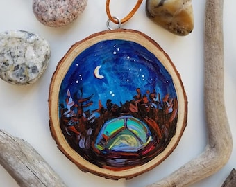 Tent Camping, Christmas, Campfire, Wish on a Star, Comet, Michigan, Travel, Hand painted, Ornament