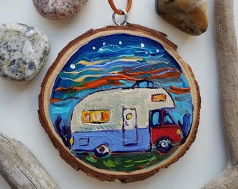 Bus, Motor Home, Happy Camper, Christmas, Campfire, Michigan, Travel, Hand painted, Ornament