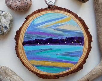 Chevron Sunset Ornament, Mini painting, Christmas, Lake Life, Abstract, Michigan, Travel, Hand Painted Ornament
