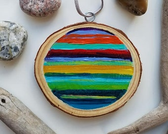 Orange and Green Sunset, Christmas Ornament, Mini Painting, Abstract Sunset, Michigan, Travel, Hand Painted Ornament