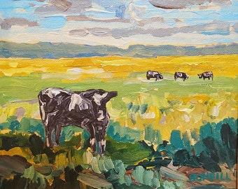 Autumn Calf, farm land, Michigan Art, Upper Penninsula,