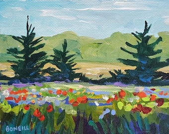 Crazy For You - 6x6 stretched canvas, Original Painting, Poppy Field, Sunset, Poppy Painting, Michigan Art, Betsy ONeill, Valentines Day