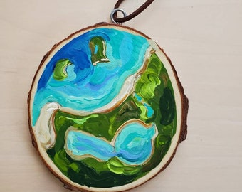 Hand painted Aerial Map, Sleeping Bear and Glen Lake, Recycled woodblock slice, Hand Painted original.