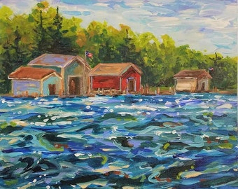 Original Painting of: The Red Boathouse, Les Cheneaux, Hessel, Cedarville, Chris Craft, Sailing, Wooden Boat, Michigan Painting