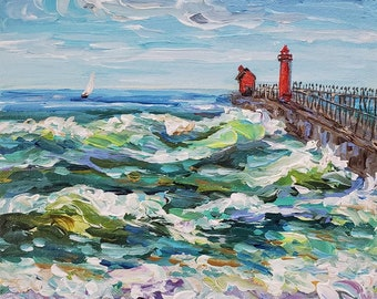 "Original Painting: ""Grand Haven"" Lake Michigan Painting, Home Decor, cottage decor, beach art, painting, Michigan Art"