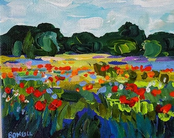 Stand By Me - 6x6 stretched canvas, Original Painting, Poppy Field, Sunset, Poppy Painting, Michigan Art, Betsy ONeill, Valentines Day