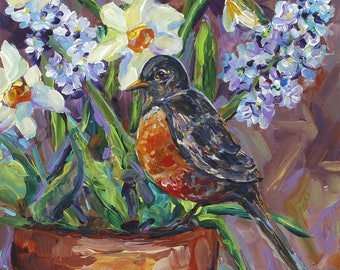 Robin Returns, Daffodils and Hyacinth, Spring Bulbs, Bird Art, Garden, Potted Plant, Still LIfe, Spring