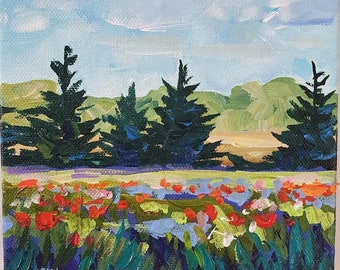 That Lovin' Feeling - 6x6 stretched canvas, Original Painting, Poppy Field, Sunset, Poppy Painting, Michigan Art, Betsy ONeill, Valentines