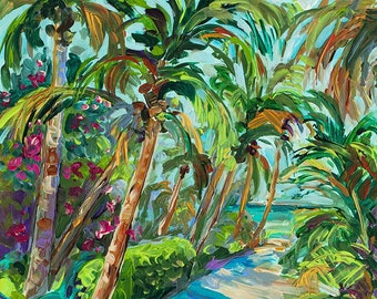 Sun and Sand, Palm Tree Art, North Captiva, Beach Trail, Sanibel, Florida, Cottage Decor, Palm tree painting, Fine Art Giclee