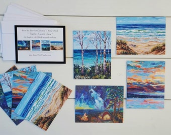 Camping Inspired Greeting Cards, Pack of 8 blank cards, envelopes, Michigan, Campfire, Sunset