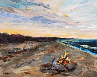 "Original Painting: ""Beach Fire,"" Lake Michigan Painting, Camping, Michigan Lakeshore, Home Decor, cottage decor, beach art, Michigan"