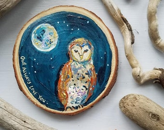 Owl Painting, Valentine's Day, Full Moon, Lunar art Recycled woodblock slice, Hand Painted original.
