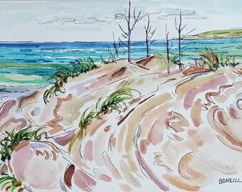 Nordhouse Dunes, Ludington, Manistee, Original Watercolor, Michigan Art