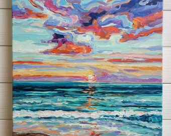 "Original Painting: ""Florida Sunset"", Home Decor, beach art, sunset painting"