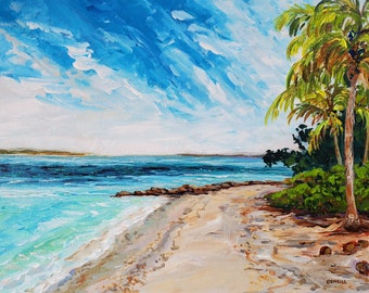 "Original Painting: ""Cross Currents"" Plein Air painting in North Captiva, Florida, cottage decor, palm trees, beach, Sanibel"
