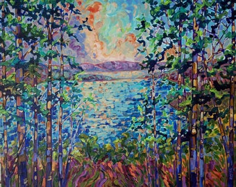 Original Painting: Glen Lake Sunset, 24x30 Acrylic on Canvas, Pierce Stocking Scenic Drive