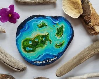 Aerial Beaver Island, Lake Michigan, Recycled woodblock slice, Hand Painted original.