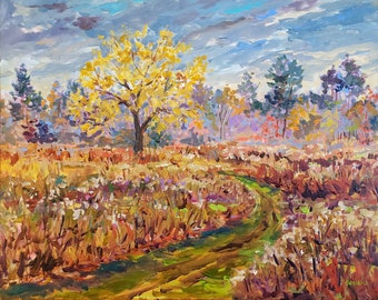 """Original Painting: """"Letting Go"""" November, Field Painting, Fall Meadow, Autumn, Home Decor, Fall Field, Plein air painting"""