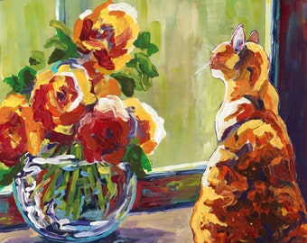 Window Seat, Orange Cat, Sunny Cat, Flowers in a Vase