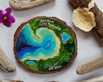 Harbor Springs, Bay View, Aerial Michigan Art, Valentine's Day, Recycled woodblock slice, Hand Painted original.