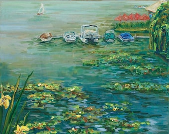 Lake Life, Sail Boat, Pontoon, Waterlilies, Boats,  Monet At Reeds Lake, East Grand Rapids, Giclee