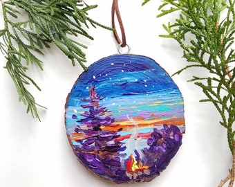 Starry Night #2, Big Pines, Christmas, Campfire, Michigan, Travel, Hand painted, Ornament