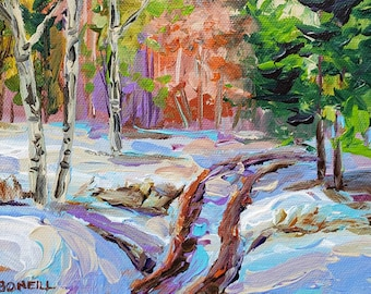 """Original Painting: """"Spring Trail in the UP"""", UP Michigan, Woods Trail, Home Decor, cottage decor, Michigan Art"""