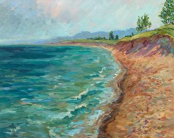 Good Morning, Saugatuck, Oval Beach, Lake Michigan, beach painting, waves, sand, driftwood