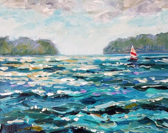 Sun Fish, Sail Boat, Les Cheneaux, Middle Entrance, Cedarville, Chris Craft, Ensign, Michigan Painting, Fine Art Giclee