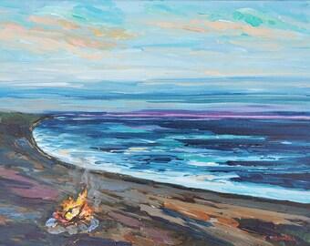 "Original Painting: ""Beach Camp"" Michigan Camping, campfire, camping art, cottage decor, home decor, art, camp, beach painting"