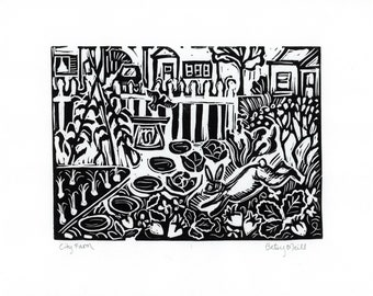 City Farm, Reproduction Print, Linocut, Giclee Fine Art Print, Black and White, Betsy ONeill