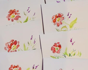 Hand Painted,Roses and Lavender, Greeting Cards, Pack of 8 blank cards, envelopes included, Michigan, flowers, happy birthday