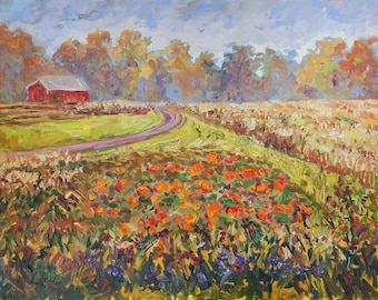 """Original Painting: """"Pumpkin Patch"""" October, Field Painting, Fall Meadow, Autumn, Home Decor, Fall Field, pumpkin painting, farm, corn field"""