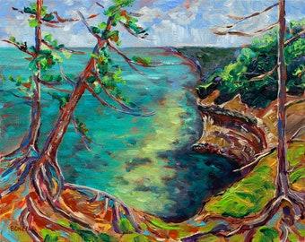 Munising Coast, Pictured Rocks National Lakeshore, Upper Peninsula, Michigan, Backpacking, Fine Art Print, Giclee, Canvas Print