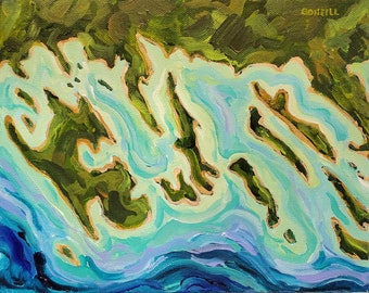 "Original Painting: ""Aerial Les Cheneaux Islands,"" Topographical, Lake Huron, Map painting, Home Decor."