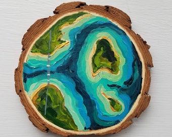Aerial Mackinac Island, Valentine's Day, Recycled woodblock slice, Hand Painted original.