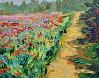 "Original Plein Air Painting: ""Poppy Path"" Fennville, Michigan, Poppy field, Poppy painting, Landscape, Flower painting, field, meadow"